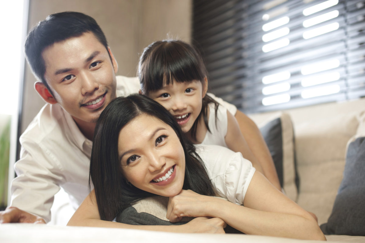 Asian Family spending time together at home